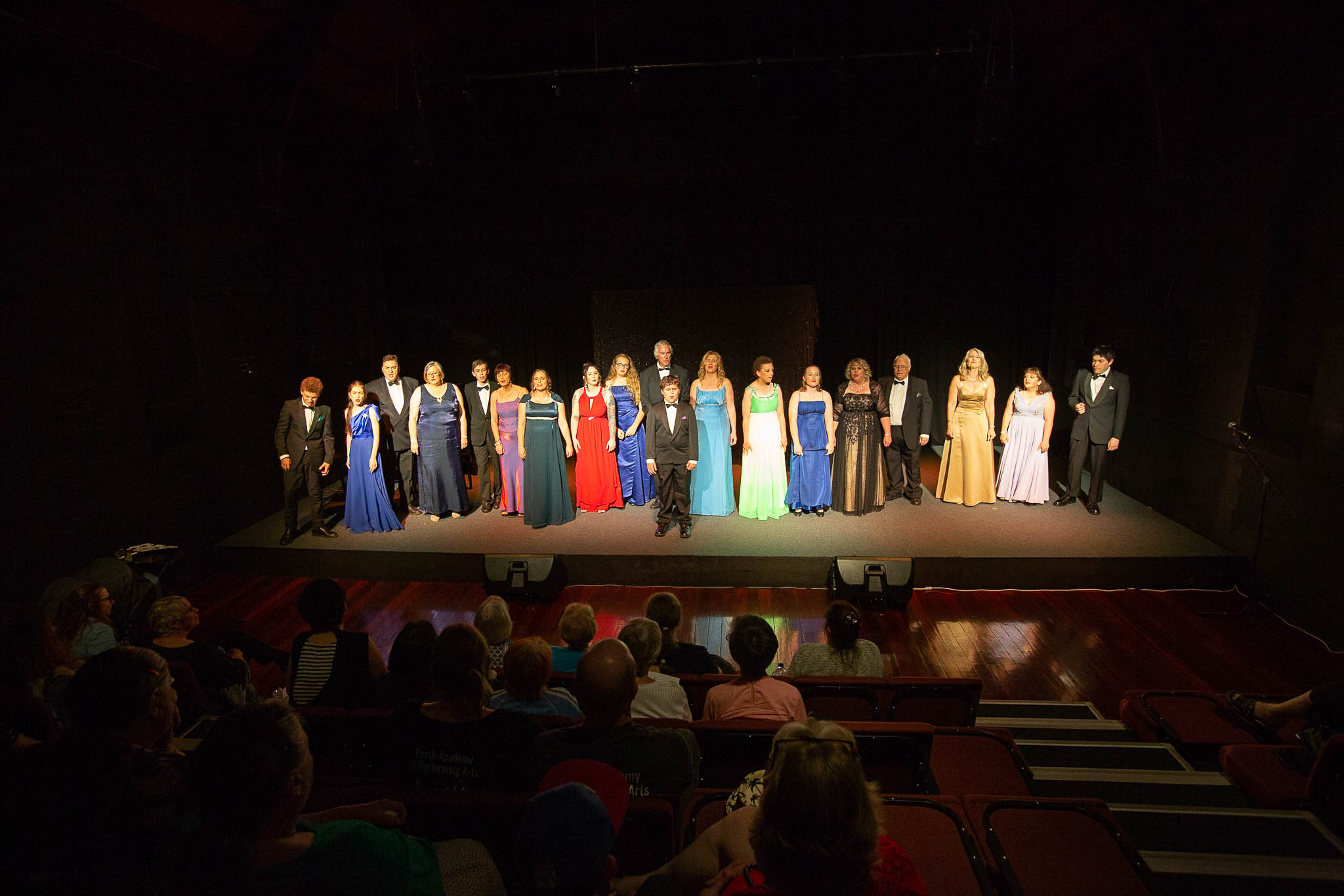 Photo of The ensemble cast on stage at the Link Theatre for the dress rehearsal of Mad About Musicals by Northam Theatre Group. Photo by Caro Telfer, Photographer.